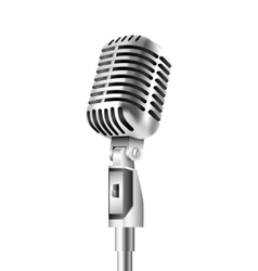 Vintage microphone on white background vector