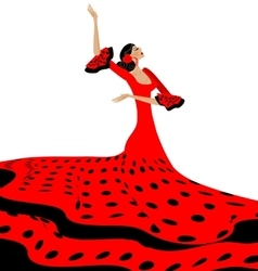 Black-red woman and flamenco vector
