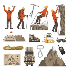 Climbing hiking mountaineering icons vector
