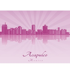 Acapulco skyline in purple radiant orchid vector