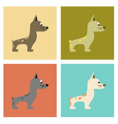 Assembly flat icons dog smiles vector