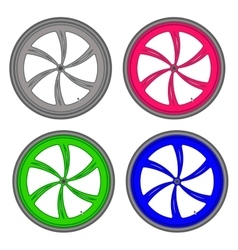 Bicycle wheels different color set on white vector