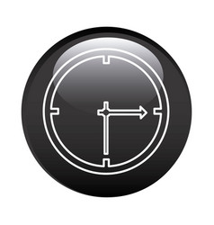Black circular frame with wall clock icon vector