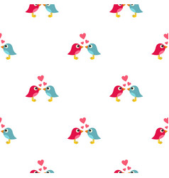 Blue and pink birds with hearts pattern seamless vector