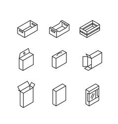 Box signs line icon set vector