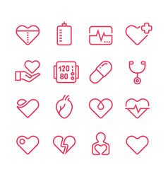 Cardiology medicine line icons vector