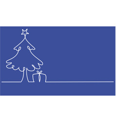 christmas tree one line drawing vector image