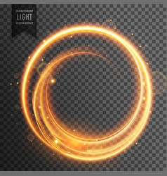 circular golden light transparent lens flare vector image vector image