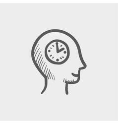 Clock in head sketch icon vector image