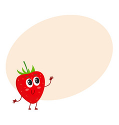 Cute and funny comic style garden strawberry vector