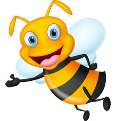 Cute flying bee presenting with simple gradient vector
