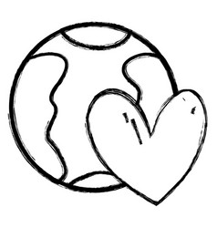 Figure earth planet with heart symbol of love vector