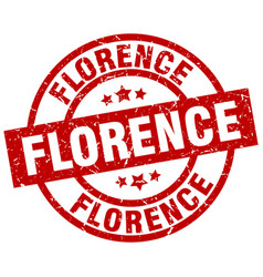 Florence red round grunge stamp vector