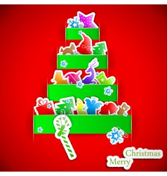 Green stripe Christmas paper tree vector image vector image