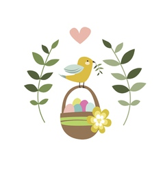 Happy Easter design with bird and backet vector image