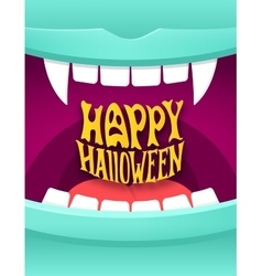 Happy halloween with vampire mouth vector