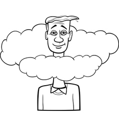 Head in the clouds saying cartoon vector
