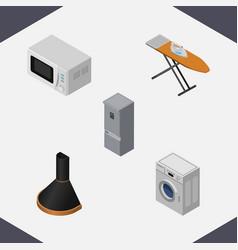 Isometric technology set of kitchen fridge air vector