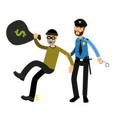 police officer character arresting robber vector image