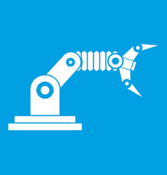 Robotic hand manipulator icon white vector
