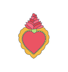 Sacred heart doodle icon vector