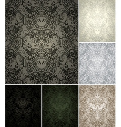 Seamless Wallpaper Pattern set of six colors vector image vector image