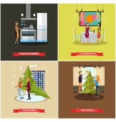 Set of christmas new years eve celebration vector