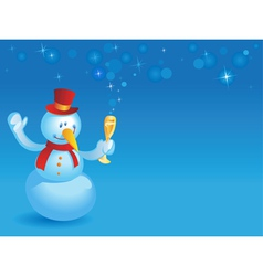 Snowman with wineglass on blue vector image