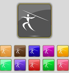 Summer sports javelin throw icon sign set with vector