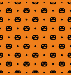 tile pattern with dots and pumpkin for halloween vector image vector image