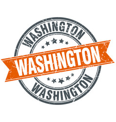 Washington red round grunge vintage ribbon stamp vector