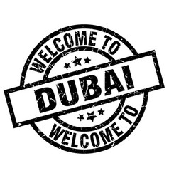 Welcome to dubai black stamp vector