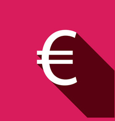 white flat euro icon with long shadow vector image vector image