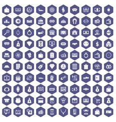 100 money icons hexagon purple vector