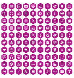 100 website icons hexagon violet vector image vector image