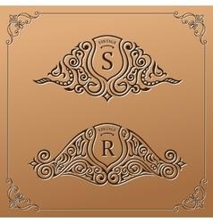 Vintage gold logo set flourishes crest vector