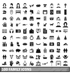 100 family icons set in simple style vector image