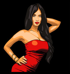 Sexy woman in red dress on a background eps vector