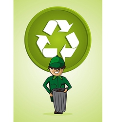 Service trash collector man cartoon recycle symbol vector image