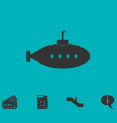 Submarine with periscope icon flat vector