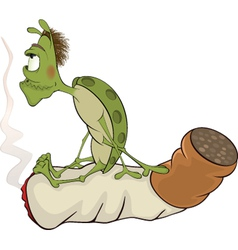 Green bug and cigarette cartoon vector