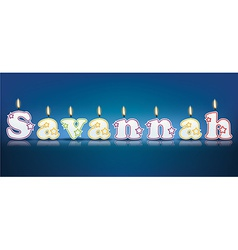 Savannah written with burning candles vector