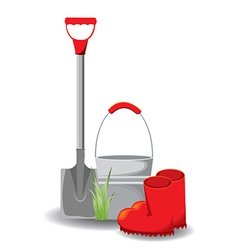 set of garden tools on white vector image