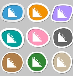 Rockfall icon multicolored paper stickers vector