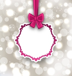 Greeting card with bow ribbon on light background vector