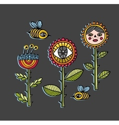 Set of strange colorful flowers vector