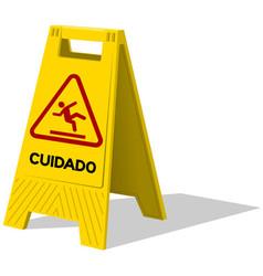 Cuidado caution two panel yellow sign vector image