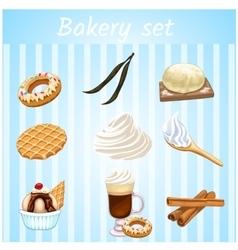 Bakery set - nine isolated sweet icons vector image vector image