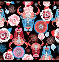 Beautiful pattern of portraits of bulls vector