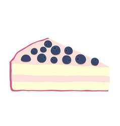 Blueberry cheesecake in flat style isolated cake vector